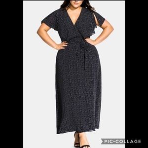 CITY CHIC• dot print maxi dress